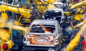 The production line of the Opel factory in Ruesselsheim, Germany.