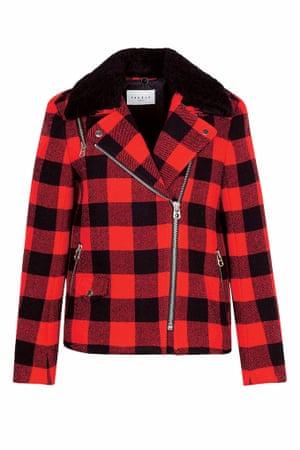 black red check jacket