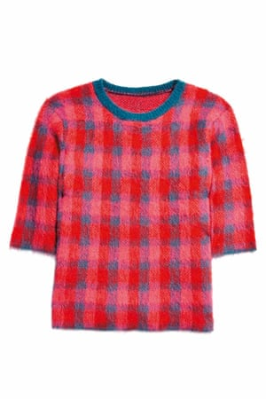 red blue pink check jumper