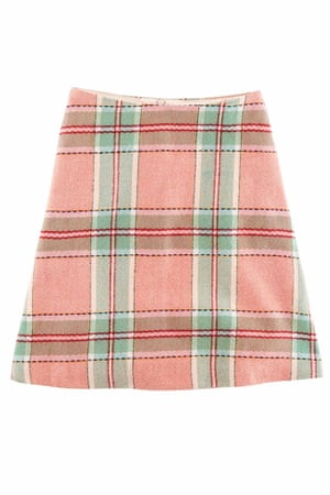 A-line skirt red green white check
