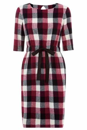 handwoven check dress red white black