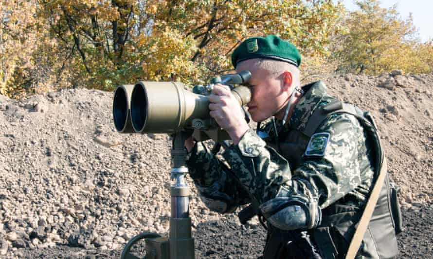A soldier near the Goptivka border crossing, north of Kharkov eastern Ukraine.
