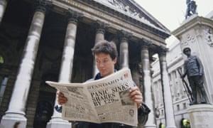 Stock market crash, known as Black Monday, 19th October 1987