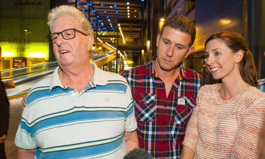 Cole with his son Adrian and daughter Gemma, who campaigned for his release.