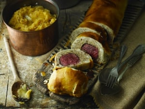 Venison wellington using mushrooms and chicken mousse