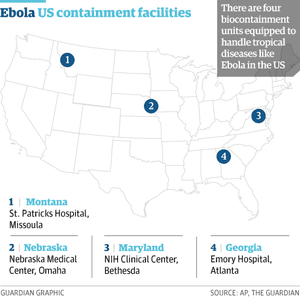 Map of biocontainment level 4 facilities in the US