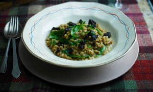 pearl barley risotto with black pudding