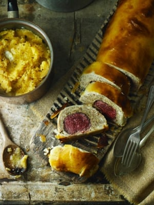 Venison wellington using mushrooms and chicken mousse.