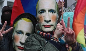 Protesters wear Putin masks at a protest in London against Russia's anti-gay law earlier this year.