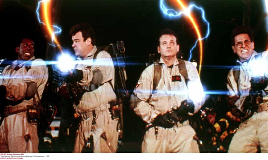 Ernie Hudson, Dan Aykroyd, Bill Murray and Harold Ramis in Ghostbusters.
