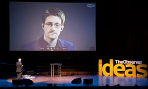 John Naughton interviews Edward Snowden via Skype at the Observer Festival of Ideas.