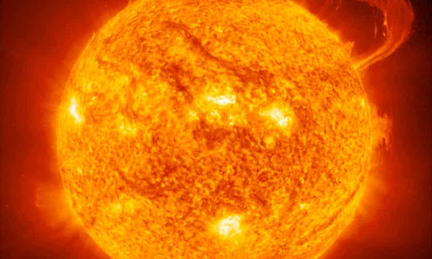 Solar flare erupting from the surface of the sun.