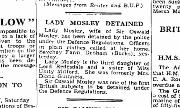 Diana Mosley detained, Observer 30 June 1940