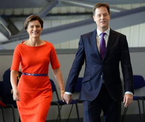 Above: González Durántez wearing the red dress that stood out at the 2013 Lib Dem conference