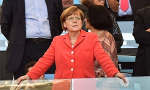German Chancellor Angela Merkel waits for the World Cup final between Germany and Argentina to begin at the Maracana Stadium in Rio de Janeiro.