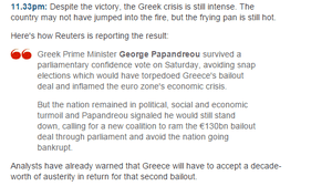 Greek PM wins confidence vote, November 2011