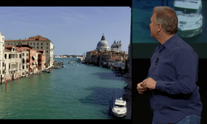 Phil Schiller introduces the iPad's time-lapse function on a video of Venice.
