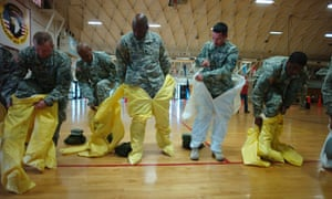 US army soldiers from the 101st Airborne Division  who are earmarked for the fight against Ebola.