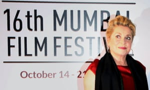 Catherine Deneuve at the opening ceremony of the16th Mumbai Film Festival, where she received a lifetime achievement award.