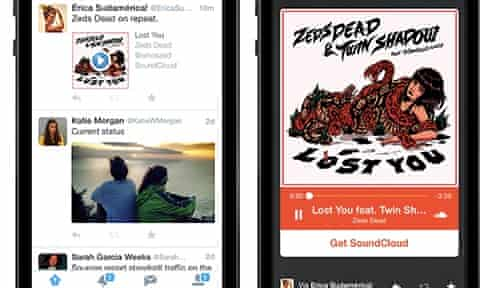 Twitter's new Audio Card feature is being used by SoundCloud and iTunes.