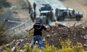 Palestinian protester near Ramallah