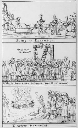 The execution of traitors of King Charles I, following the restoration of the monarchy, 19 October 1660.