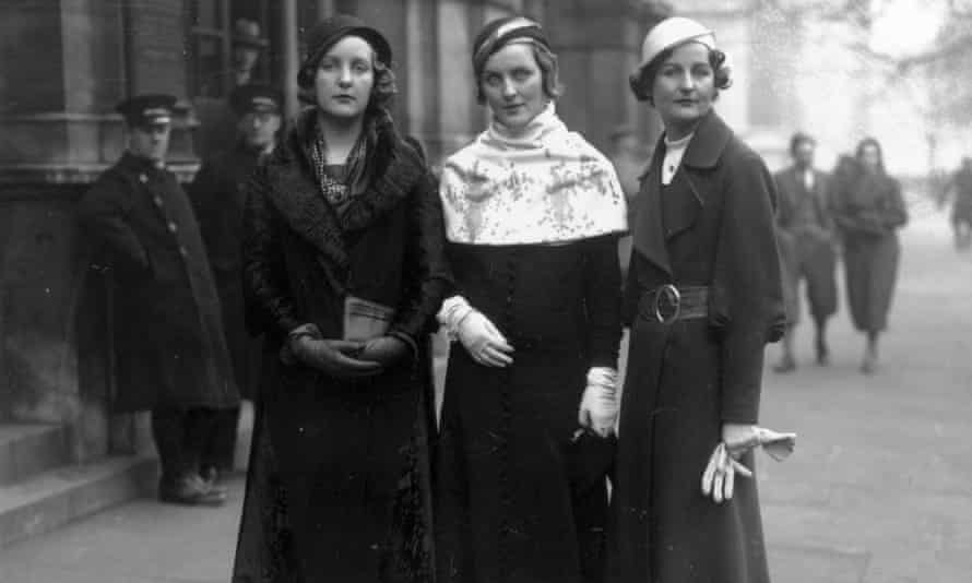 Three of the Mitford sisters - Unity, Diana and Nancy - in 1932.