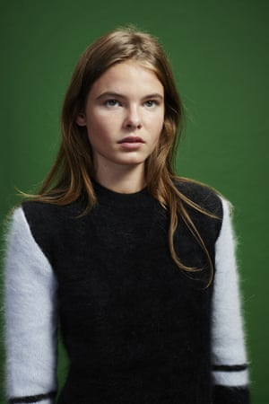 Pebbles wears black and white jumper, £650, by Atto, from matchesfashion.com