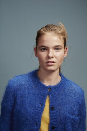 Pebbles wears blue mohair cardigan, £165, youmustcreate.com. Yellow top, stylist'sown