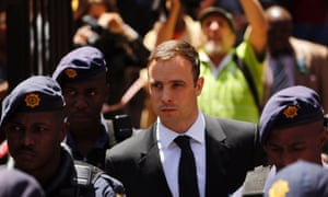 Oscar Pistorius leaves the North Gauteng high court in Pretoria on Friday.