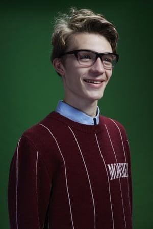 Finlay wears shirt, £135, apc.fr. Sweater, £500, viktor-rolf.com. Glasses, £189, by Heston Signature Range, from visionexpress.com.