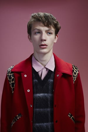 Finlay wears pink shirt, £380, tank top, £490, and bomber, £1,325, all Saint Laurent by Hedi Slimane, ysl.com.