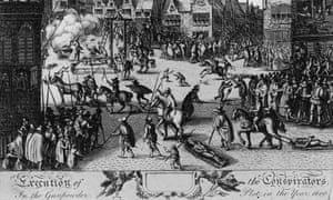 Guy Fawkes and his co-conspirators in the Gunpowder plot of 1605 are publicly hanged, drawn and quartered, the standard punishment for treason, 31 January 1606.