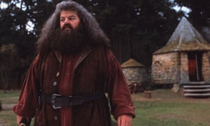Hagrid's hut is a refuge for Harry Potter, Hermione Grainger and Ron Weasley in JK Rowling's popular children's series. This still from the 2001 adaptation of Harry Potter and the Philosopher's Stone shows Robbie Coltrane as Rubeus Hagrid in pensive mood.