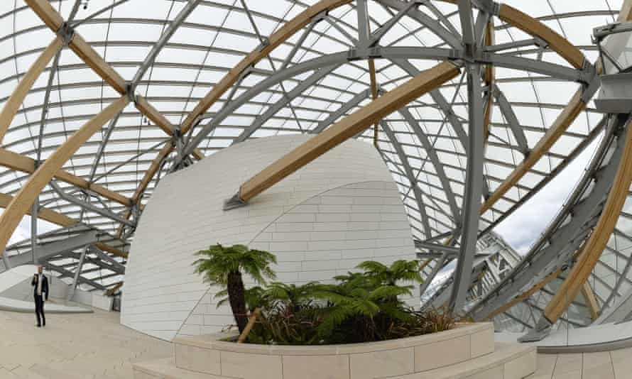 Interior view of the Louis Vuitton Foundation designed by Frank Gehry.