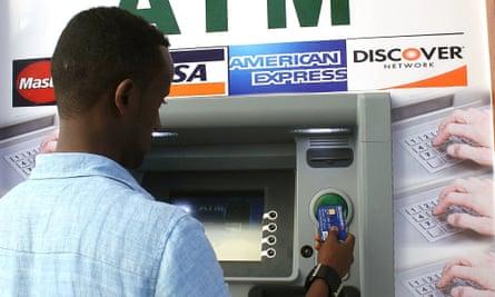 Somali man uses Mogadishu's first cash machine