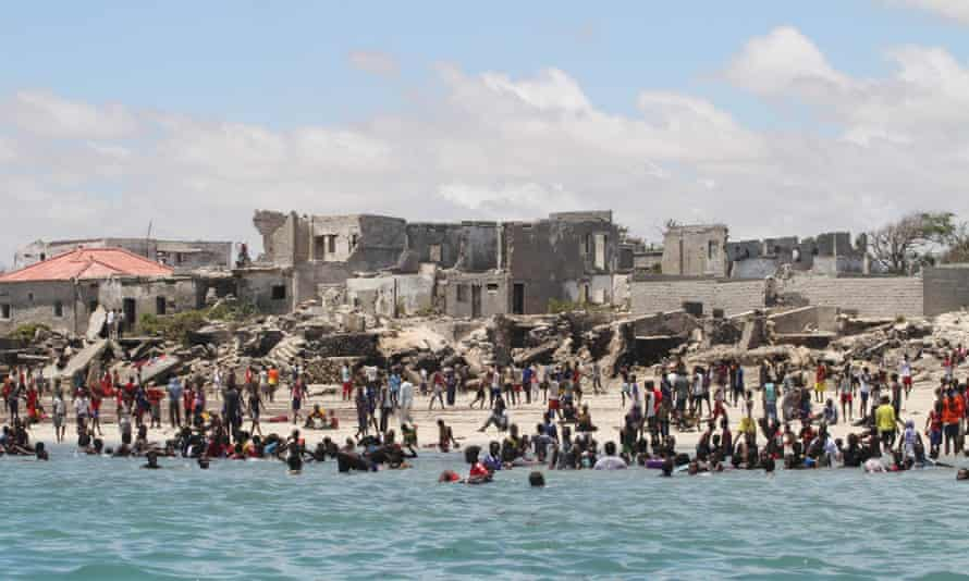 Somalians swim at Lido Beach near Mogadishu