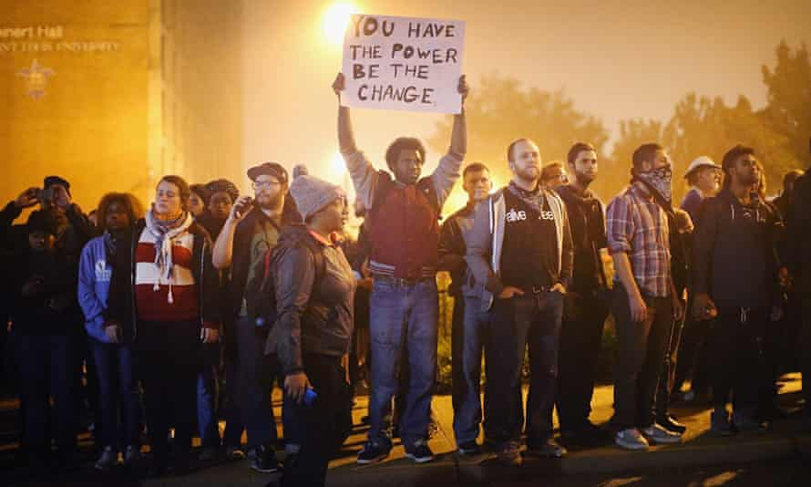 demonstrators in St Louis, Missouri, protesting the police shooting of Michael Brown in Ferguson