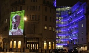 Mary Whitehouse image projected onto the side of Broadcasting House