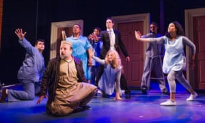 'Spot-on': Kev Orkian, second left, in The Infidel – the Musical at Theatre Royal Stratford East. Photograph: Tristram Kenton