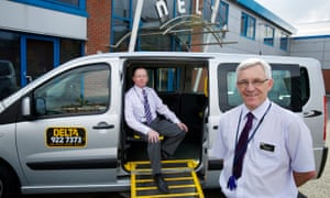 Drivers Alec Eve, left, and Peter Lowe at Delta Taxis in Liverpool
