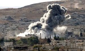 Smoke rises after an airstrike