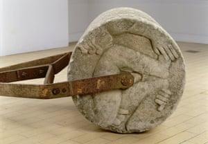 the Adam and Eve garden roller, c1933 carved by David Kindersley, designed by Eric Gill