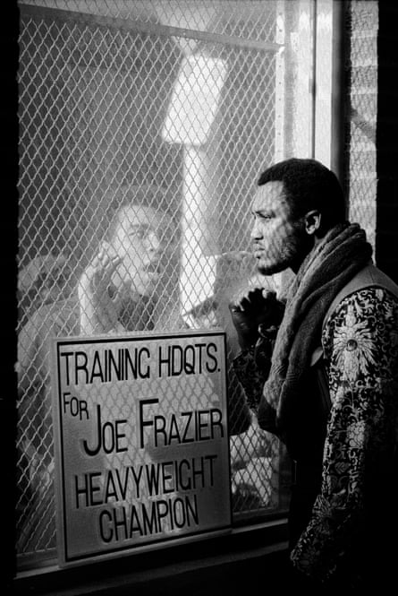 Muhammad Ali berates Joe Frazier at his training camp ahead of their fight in 1971. Frazier won by a unanimous decision after 15 rounds.