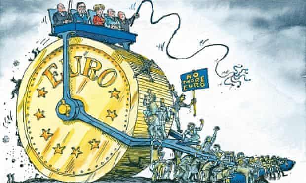 Cartoon by David Simonds. Angela Merkel's hard line on debt threatens the euro project.