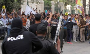 Students of Cairo University demo
