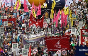 Rallies, organised by the Trades Union Congress, and calling for pay increases for public sector workers, are being held in London, Belfast and Glasgow.