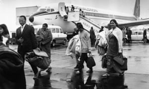 Ugandan Asians arrive at Stansted airport in 1972