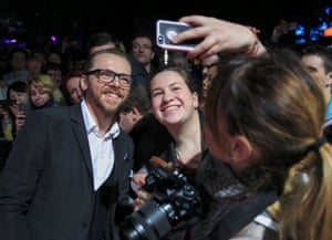 Simon Pegg meets his fans as he arrives for the screening of his film Kill Me Three Times