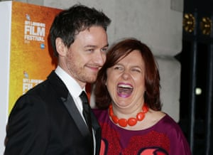 Actor James McAvoy and Film Festival Director Clare Stewart arriving for the London Film Festival Awards at Banqueting House